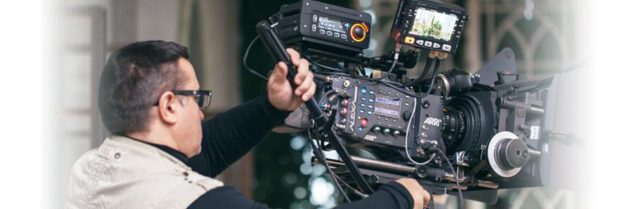 Cameraman operating a camera